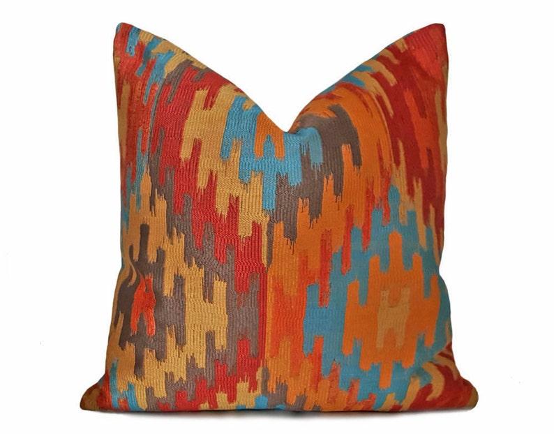 Southwestern Pillows Orange Blue Pillow Aztec Pillows Etsy