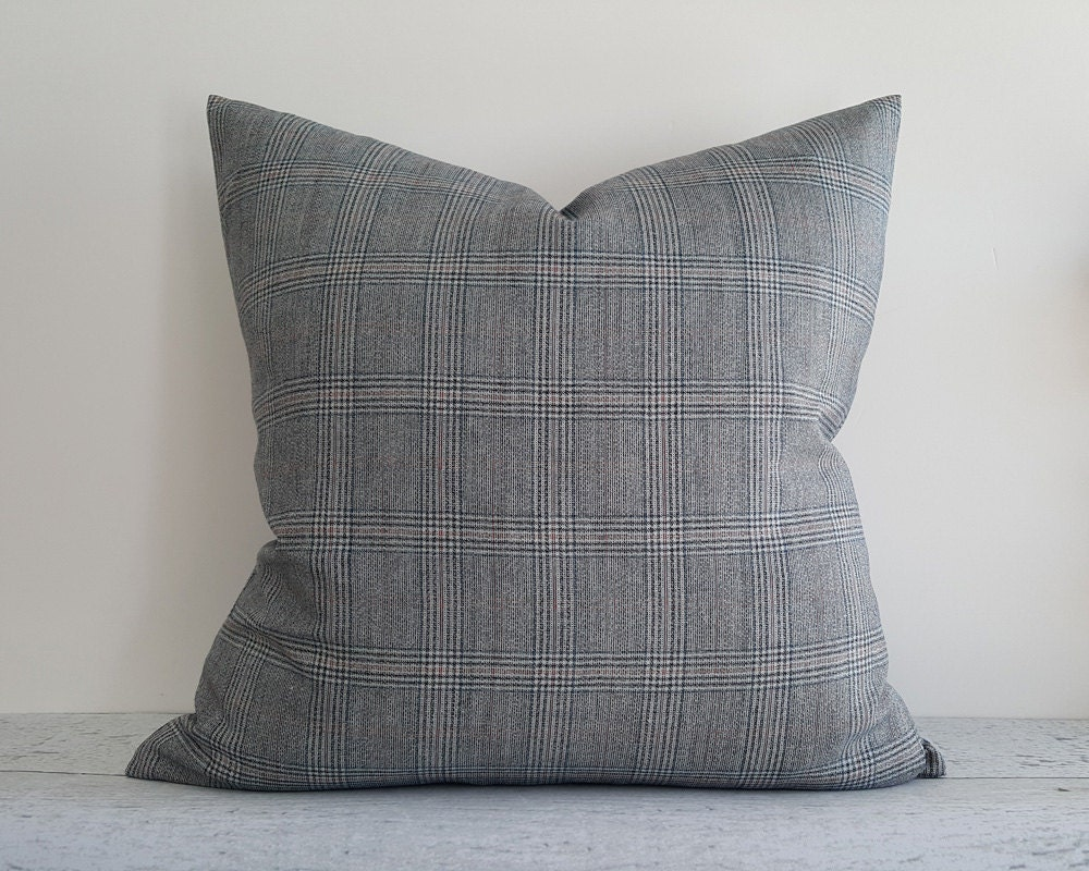 Gray Pillows Couch Pillow Grey Cushions Plaid Pillows Etsy