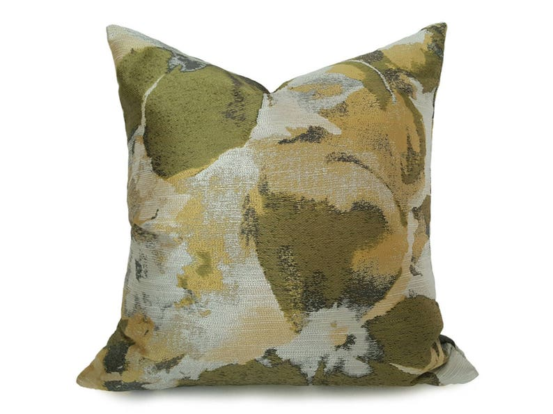 Floral Cushions 18 Green Floral Pillows Designer 20 Green Throw Pillow Large Floral Pillow Green Cream Pillow Floral Pillow Cover