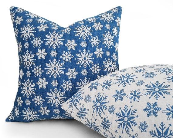 Snowflake Pillow Blue Christmas Pillows