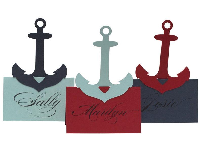 Anchor Escort Cards  boating maritime place card wedding image 0