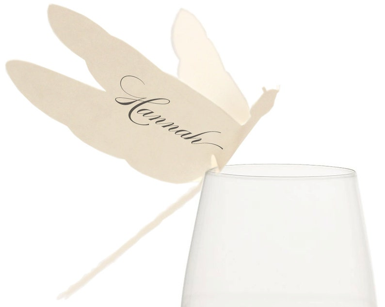 Dragonfly Place Cards  wine ivory cream escort card table image 0