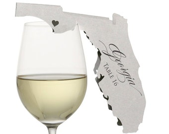 Florida Place Cards - State Silhouette seating cards - with optional custom location heart cutout