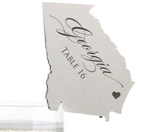 Georgia Place Cards - State Silhouette seating cards - with optional custom location heart cutout