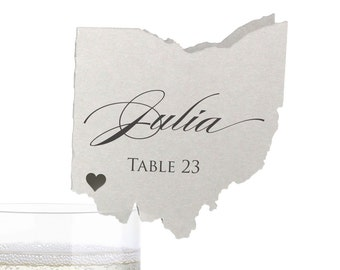 Ohio Place Cards - State Silhouette seating cards - with optional custom location heart cutout