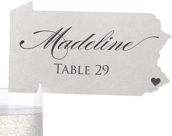 Pennsylvania Place Cards - State Silhouette seating cards - with optional custom location heart cutout