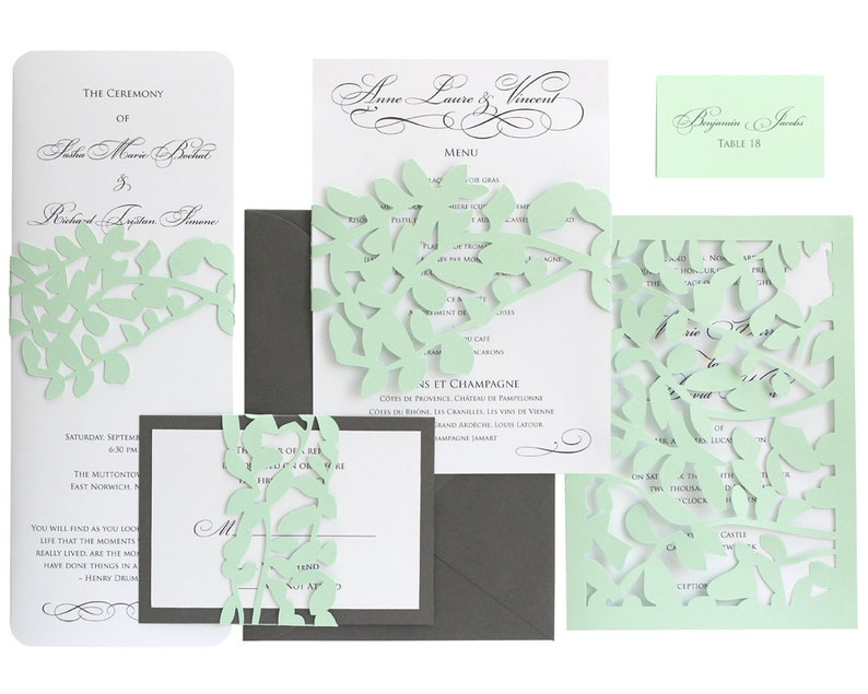 leaf lace wedding rsvp cards response invitation mint  etsy