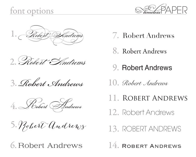 Printed Guest Names for escort cards and place cards image 0