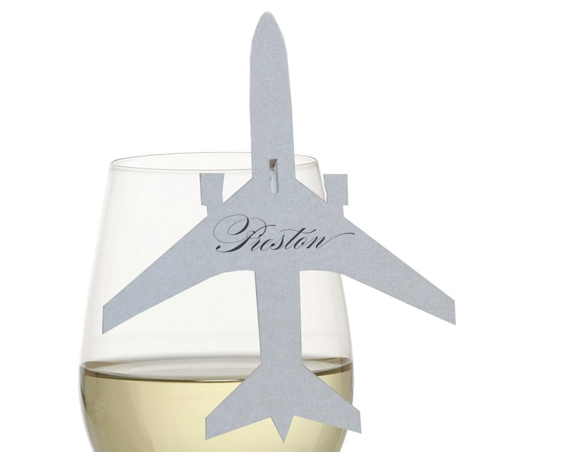 Airplane Place Cards  wine glass place card plane escort image 0