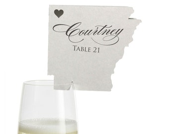 Arkansas Place Cards - State Silhouette seating cards - with optional custom location heart cutout