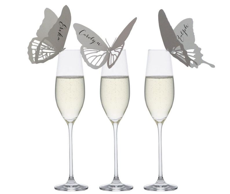 Butterfly Place Cards  handmade gray wing fly flutter image 0