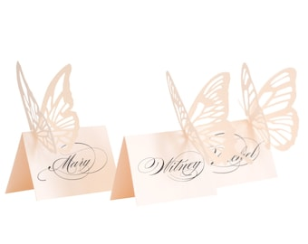 Butterfly Escort Cards - blush pink, place card, wedding, shower, baby, laser cut, elegant, pretty, pale pink, table number, adorable, cute
