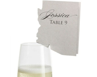 Arizona Place Cards - State Silhouette seating cards - with optional custom location heart cutout
