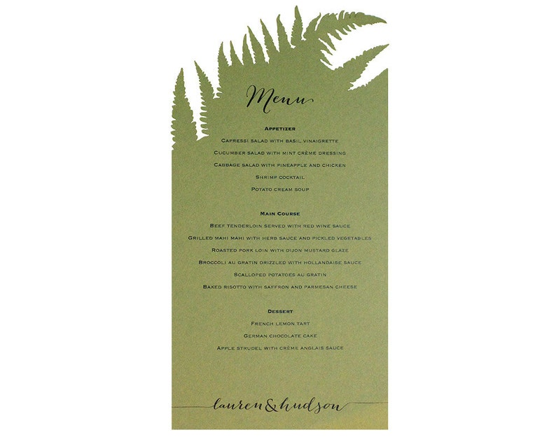 Fern Menu Cards  Unique Cutout Natural Wedding Accessory image 0
