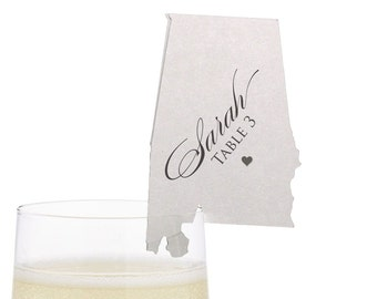 Alabama Place Cards - State Silhouette seating cards - with optional custom location heart cutout