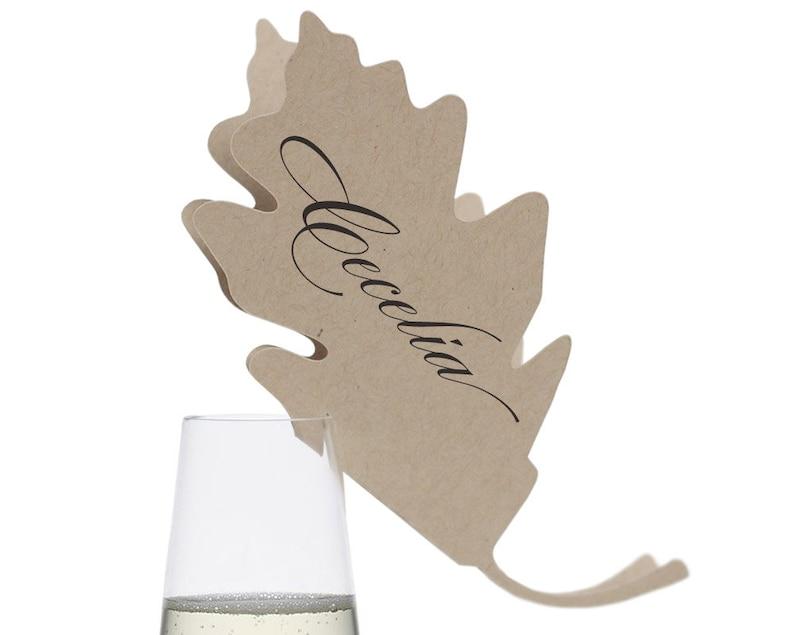 Oak Leaf Place Cards  autumn fall leaves tree glass image 0