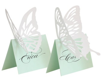 Butterfly Escort Cards - mint, white, place card, wedding, marriage, lasercut, green, caligraphy, table number, reception, bride, spring