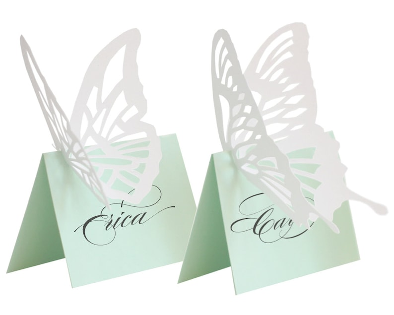 Butterfly Escort Cards  mint white place card wedding image 0