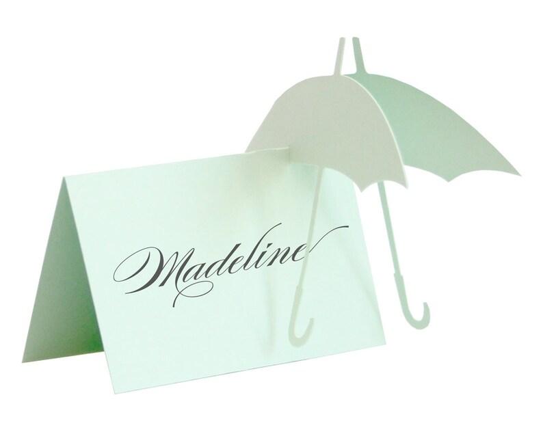 Umbrella Escort Cards  wedding place card baby shower rain image 0