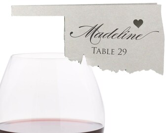Oklahoma Place Cards - State Silhouette seating cards - with optional custom location heart cutout