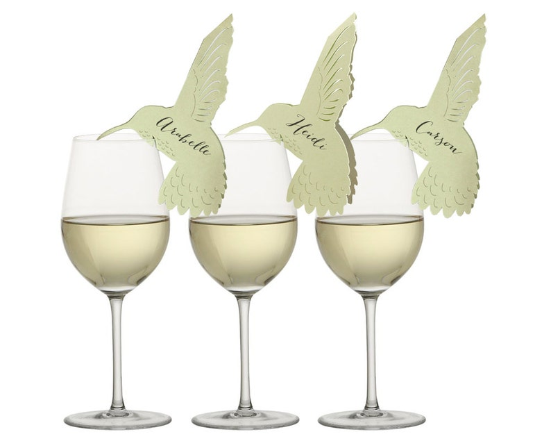 Hummingbird Place Cards  bird wine glass calligraphy names image 0
