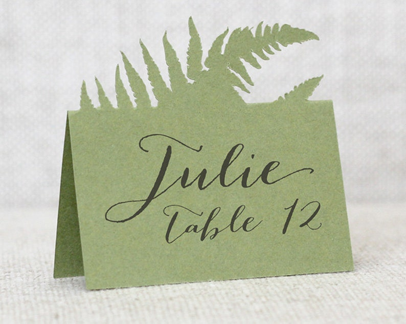 Fern Escort Cards  place card table number wedding image 0