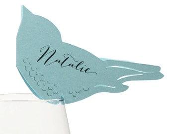 Love Bird Place Cards - wedding escort card, table number, robin, sparrow, cardinal, blue, white, cream, red, orange, black, summer, spring