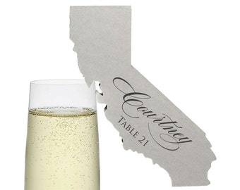California Place Cards - State Silhouette seating cards - with optional custom location heart cutout