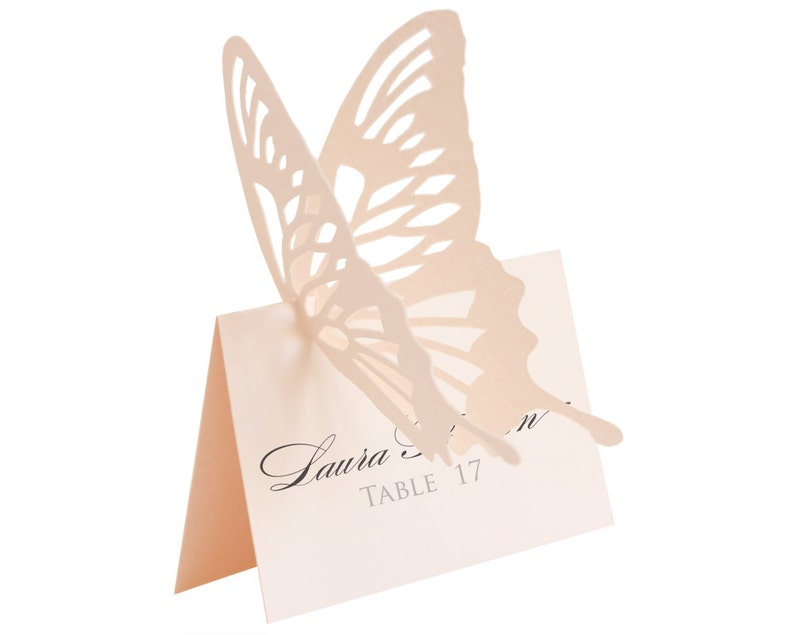 Butterfly Escort Cards  light pink place card wedding image 0
