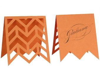 Arrows Escort Cards - orange, tangerine, poppy, papaya, wedding, marriage, herringbone table number, reception, name tag, zig zag, laser cut