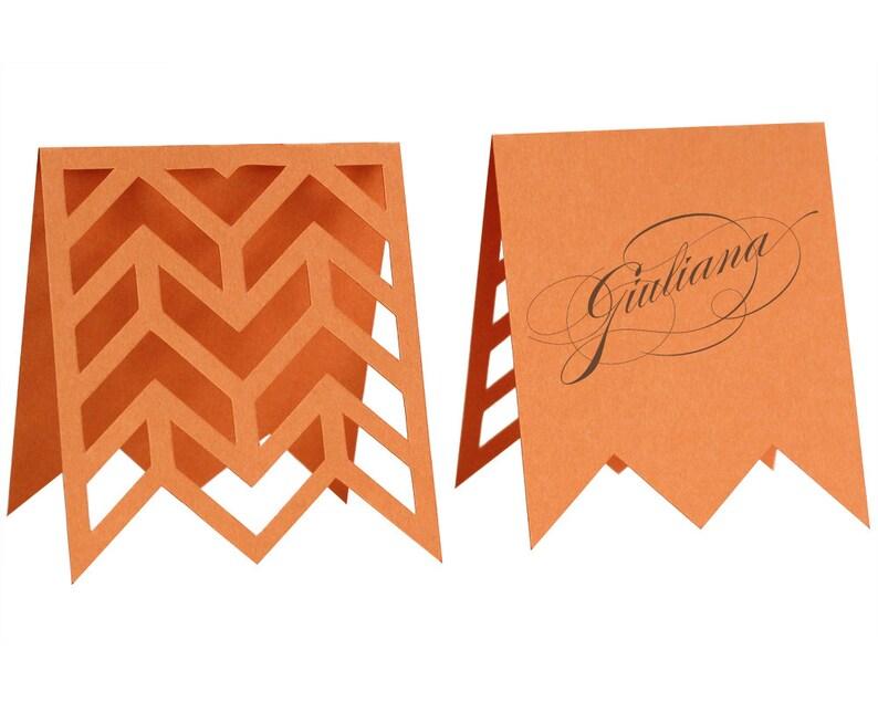 Arrows Escort Cards  orange tangerine poppy papaya image 0