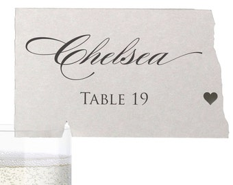 North Dakota Place Cards - State Silhouette seating cards - with optional custom location heart cutout