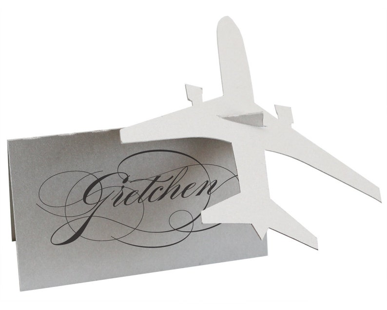 Airplane Escort Cards  shimmer silver plane place card image 0