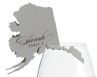 Alaska Place Cards - State Silhouette seating cards - with optional custom location heart cutout