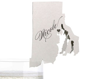 Rhode Island Place Cards - State Silhouette seating cards - with optional custom location heart cutout
