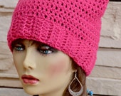 READY TO SHIP Pink Pussy Crochet Hat Pussy Cat Hat Kitty Hat Woman 39 s Rights Hat Pussy Hat Project Crochet Cat Beanie