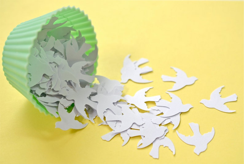WhiteDoves 100 Count Punched Doves Card Making Embellishments Table Confetti Pumched Birds Table Decorations