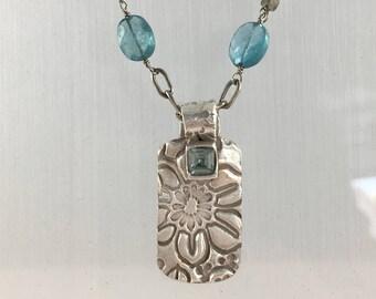 Beautiful Blue Apatite Pendant Necklace