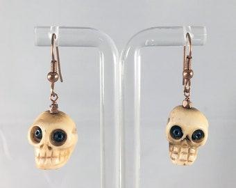 Halloween Skull Earrings on Copper Earwires