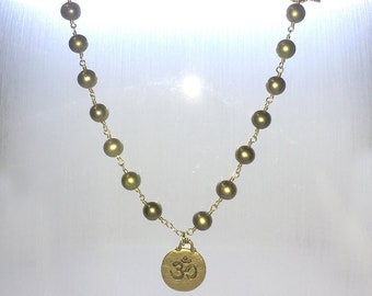 Green Pearl Ohm (or Om) Charm Necklace