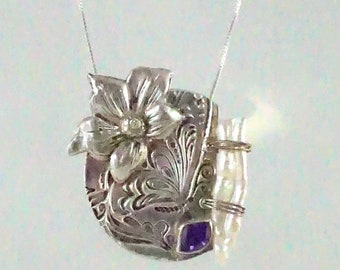 Floral Fine Silver Pendant with Freshwater Pearl, Amethyst Crystal