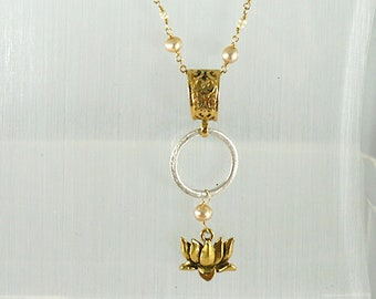 Gold and Pearls Ojime Carved Wood Buddha necklace with Lotus Charm