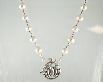 Stunning Pearl Lotus Necklace