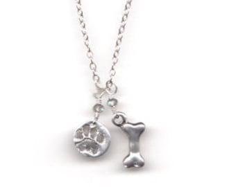 Dog Bone Paw Print necklace