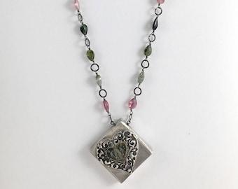 Watermelon Tourmaline and Fine Silver Heart Necklace