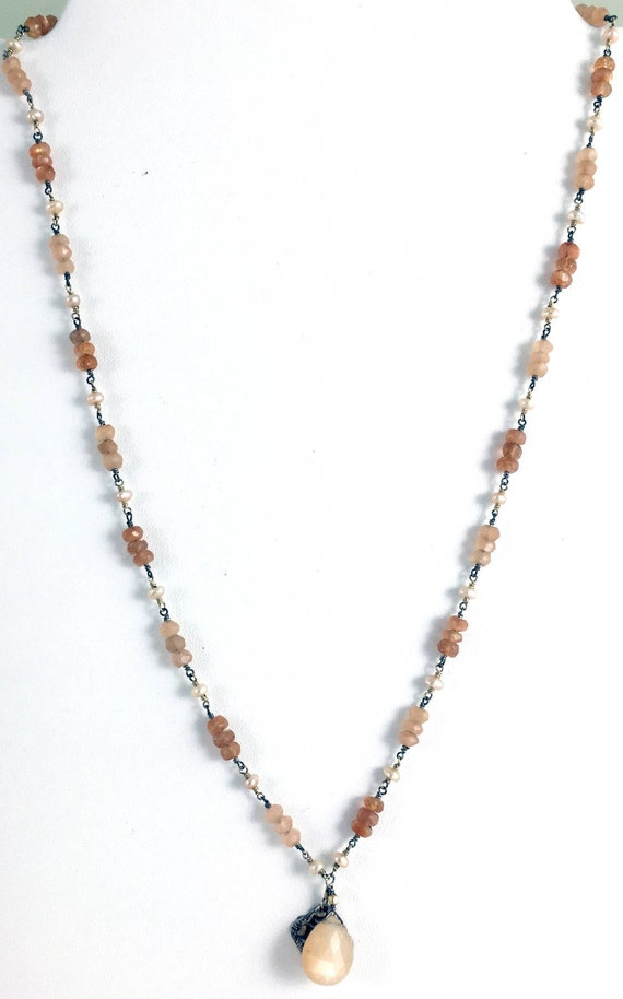 Peach Moonstone Teardrop Necklace with Czech Glass Sunstone and Pearls Moonstone