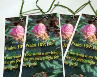 Bookmark- Scripture Psalm 109:105,pink flower bud image-For Christian Readers