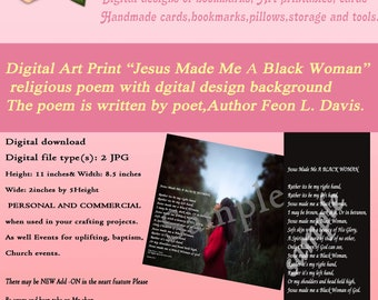 Jesus Made Me A Black Woman-Download-Art Printable-Christian faith Poem