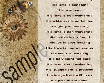 Printable Brown No Waviering Of His Love Instant Download Christian poem