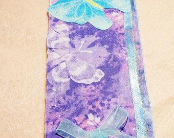 Matt-board handmade Bookmarks, with butterflies iron on and Fabric